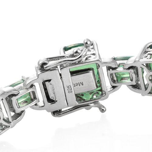 Designer Inspired-Peacock Quartz (Cush) Bracelet (Size 7.25) in Platinum Overlay Sterling Silver 37.500 Ct. Silver wt 18.67 Gms.