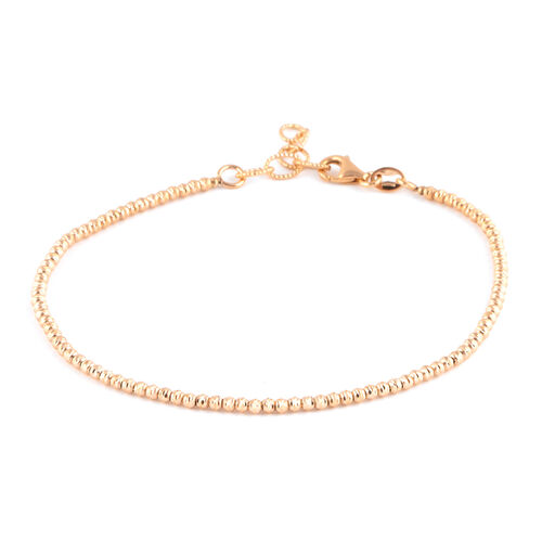 9K Rose Gold Diamond Cut Beaded Bracelet (Size 7 with 1 inch Extender), Gold Wt 3.00 Gms.