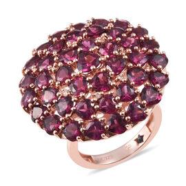 GP Rhodolite Garnet (Hrt), Natural Cambodian Zircon and Blue Sapphire Ring in Rose Gold Overlay Ster