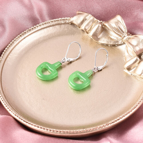 Green Jade Dangle Lever Back Snaffle Earrings in Rhodium Overlay Sterling Silver 11.810  Ct.