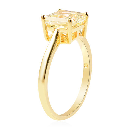 ELANZA Simulated Yellow Sapphire Solitaire Ring in Yellow Gold Overlay Sterling Silver