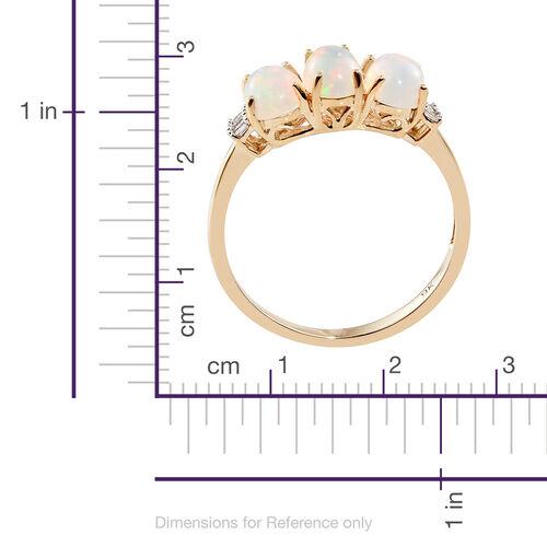 9K Yellow Gold Ethiopian Welo Opal (Ovl), Diamond Ring 1.500 Ct.