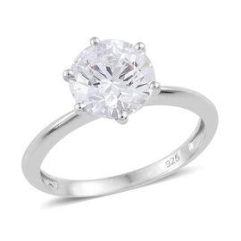 J Francis - Platinum Overlay Sterling Silver (Rnd 8 mm) Ring (Size Q) Made with SWAROVSKI ZIRCONIA, Carat wt