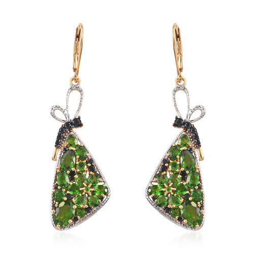 GP 7.25 Ct Diopside and Black Spinel Drop Earrings in 14K Gold Plated Sterling Silver 7.3 Grams