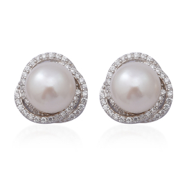 White Freshwater Pearl , Simulated Diamond Earrings (with Push Back) in Rhodium Overlay Sterling Sil