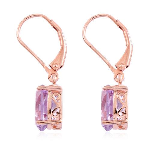 Rose De France Amethyst (Ovl) Lever Back Earrings in Rose Gold Overlay Sterling Silver 4.500 Ct.