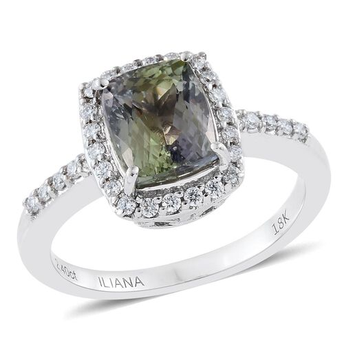 ILIANA Rare 2.63 Ct AAA Green Tanzanite and Diamond IGI Certified (SI G-H) Ring in 18K White Gold
