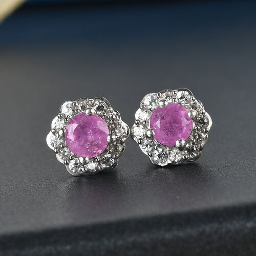 Pink Sapphire and Natural Cambodian Zircon Floral Stud Earrings (with Push Back) in Platinum Overlay Sterling Silver 2.00 Ct.