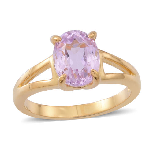Brazilian Kunzite (Ovl) Solitaire Ring in 14K Gold Overlay Sterling Silver 2.500 Ct.