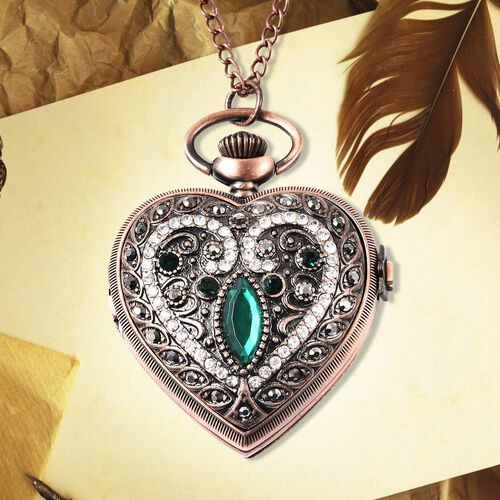 STRADA Japanese Movement Water Resistant Multi Colour Austrian Crystal and Simulated Emerald Heart Pocket Watch with Chain in Rose Gold Plating