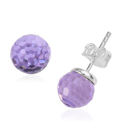 J Francis - Crystal from Swarovski Violet Crystal Stud Earrings (with Push Back) in Sterling Silver