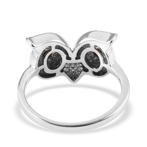 Boi Ploi Black Spinel (Rnd) Owl Ring in Platinum Overlay Sterling Silver