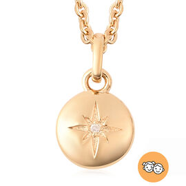 RACHEL GALLEY Diamond Kids Star Pendant with Chain (Size 16) in Yellow Gold Overlay Sterling Silver