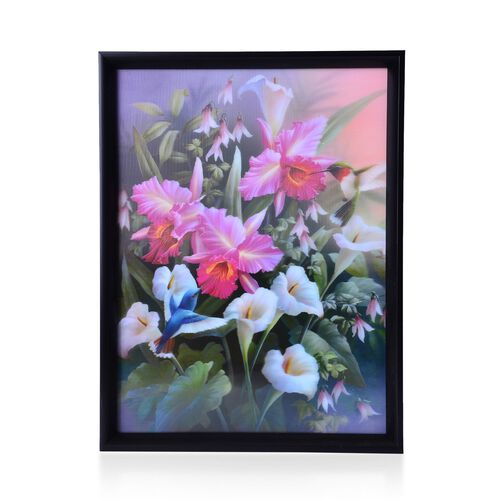 Wall Decor - Flowers Framed 4D Wall Painting (Size 41x31.15x2 Cm)