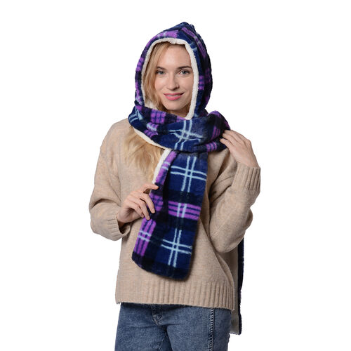 Ultra Soft Plaid Hooded Circle Scarf (Size 17x200cm) - Blue and Purple
