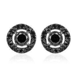 Black Diamond (Rnd) Stud Earrings (with Push Back) in Platinum Overlay Sterling Silver 0.750 Ct.
