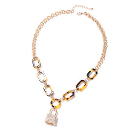 White Austrian Crystal Lock Statement Necklace in Yellow Gold Tone 24 Inch