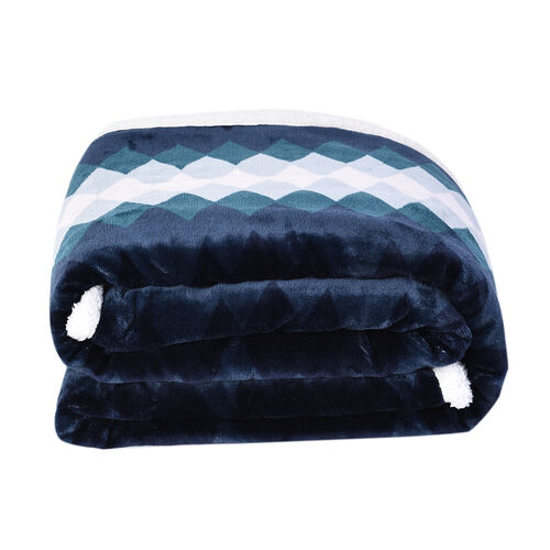 Tribal Pattern Flannel Sherpa Blanket (190x150cm) - Navy, Green and White