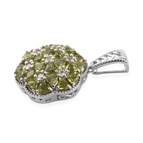 AA Hebei Peridot and Natural Cambodian Zircon Pendant in Platinum Overlay Sterling Silver 2.50 Ct.