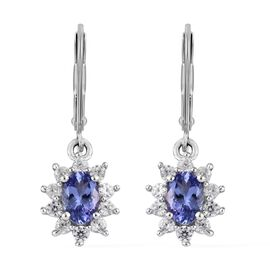 One Time Deal- Tanzanite (Ovl), Natural Cambodian Zircon Lever Back Earrings in Platinum Overlay Ste