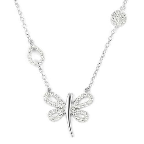 ELANZA Simulated Diamond (Rnd) Dragonfly Necklace (Size 16) in Rhodium Overlay Sterling Silver.