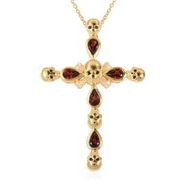 Halloween Collection- Mozambique Garnet (Pear), Natural White Cambodian Zircon and Boi Ploi Black Spinel Cross Pendant With Chain (Size 18) in 14K Gold Overlay Sterling Silver 2.710 Ct.