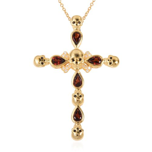 Mozambique Garnet (Pear), Natural White Cambodian Zircon and Boi Ploi Black Spinel Cross Pendant With Chain (Size 18) in 14K Gold Overlay Sterling Silver 2.710 Ct.