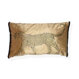Black Khari Printed & Gold Foil Painted Silky Velvet Leopard Pillow with Fringes (Size 30x50 Cm) - B