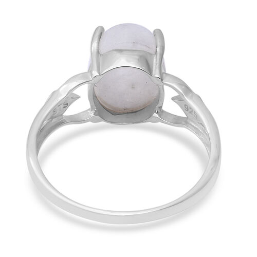 Rainbow Moonstone (Ovl 11x9 mm) Solitaire Ring in Sterling Silver 5.14 Ct.