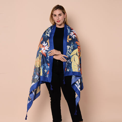 Close Out Fashion Scarf  / Sarong in Leaves Pattern (Size 180x90cm) with Tassels - Blue and Multi Co