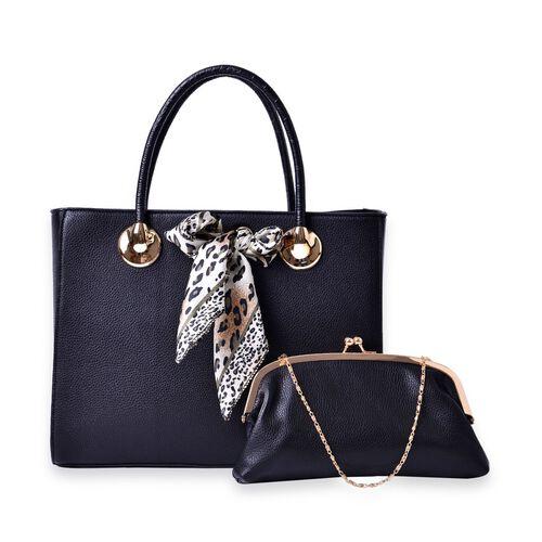 Black Colour Large Tote Bag with External Zipper Pocket, Small Clutch and Black Colour Leopard Pattern White Colour Scarf (Size 35x28x12 Cm, 27x13.5 Cm and 51x47 Cm)
