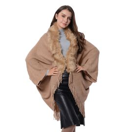 Faux Fur Collar Kimono with Tassels (Free Size) Brown Blue Colour