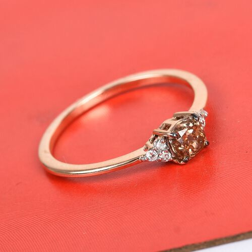 9K Rose Gold Champagne and White Diamond Ring 0.50 Ct.