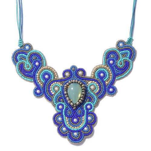 Statement Collection-  Blue Turquoise Colour Beads Adjustable Necklace (Size 16 to 24)