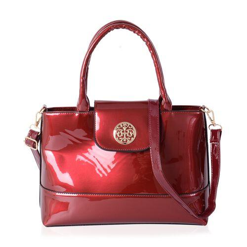 HONG KONG CLOSE OUT High Glossed Sassy Red Colour Large Tote Handbag with Adjustable Long Strap (Siz