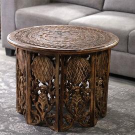 NAKKASHI Hand Carved Mango Wood Table (Size 68x68x51Cm)
