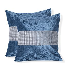 Set of 2 - Blue Colour Crush Velvet Cushion Cover (Size 42x42 Cm)
