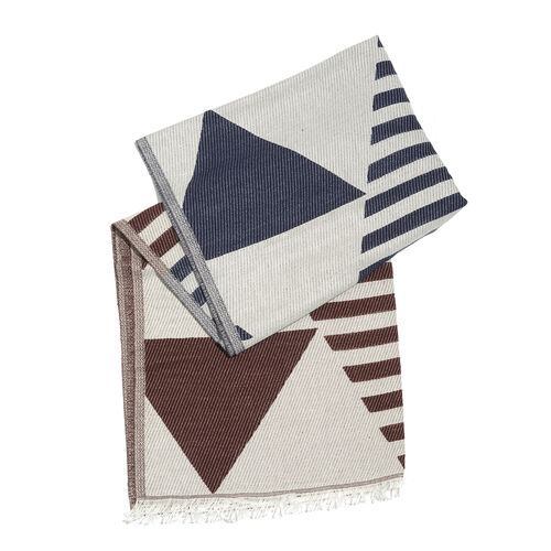 Chocolate, Blue and Off White Colour Stripes and Geometrical Pattern Scarf with Fringes (Size 190X70 Cm)