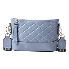 Genuine Leather Quilted Pattern Crossbody Bag - Blue