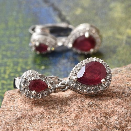 African Ruby (Pear 3.90 Ct), Natural Cambodian Zircon Earrings (with Clip Lock) in Platinum Overlay Sterling Silver 5.000 Ct.