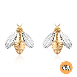 Bee Earrings for Kids in Platinum and Gold Plated Sterling Silver with Push Back