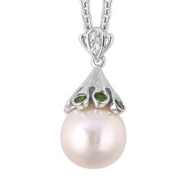 LucyQ Edison Pearl and Russian Diopside with Zircon Drop Pendant With Chain in Silver 8.09 Grams