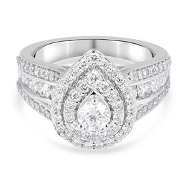 NY Close Out 14K White Gold Diamond (I1-I2/G-H) Cluster Ring 1.50 Ct, Gold wt. 5.50 Gms Size N FREE