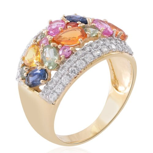 Madagascar Pink Sapphire (0.91 Ct),Orange Sapphire,White Zircon,Green Sapphire,Madagascar Blue Sapphire,Sri LankanYellow Sapphire,Red Sapphire 9K Y Gold Ring  4.350  Ct.