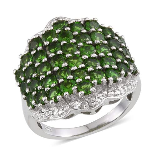 Russian Diopside (Rnd), Diamond Cluster Ring in Platinum Overlay Sterling Silver 4.780 Ct.