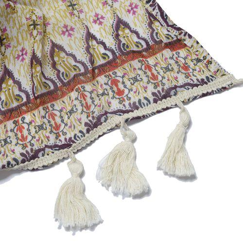 Geometrical Print Purple, Cream and Multi Colour Kimono with Tassels (Size 95x88 Cm)