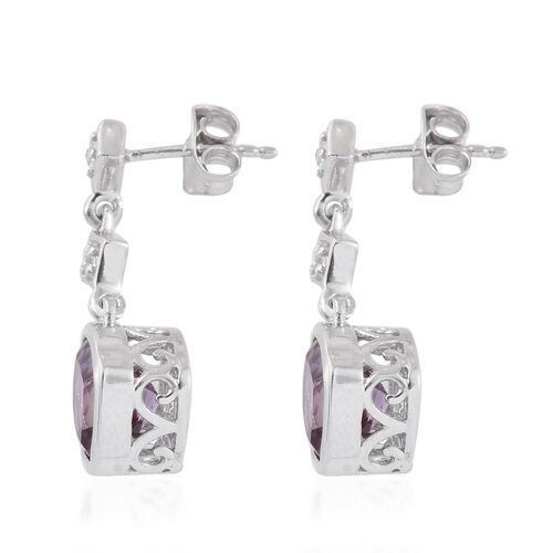 Anahi Ametrine (Cush), White Topaz Earrings (with Push Back) in Platinum Overlay Sterling Silver 4.500 Ct.