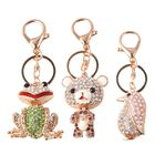 Set of 3 Multicolour Austrian Crystal Frog,Teddy Bear and Penguin Enamelled Keychain in Gold Tone