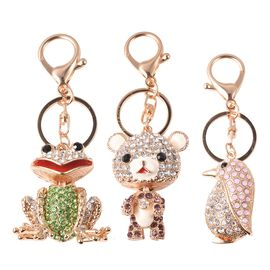 Set of 3 - Multicolour Austrian Crystal Frog, Teddy Bear and Penguin Enamelled Keychain in Gold Tone