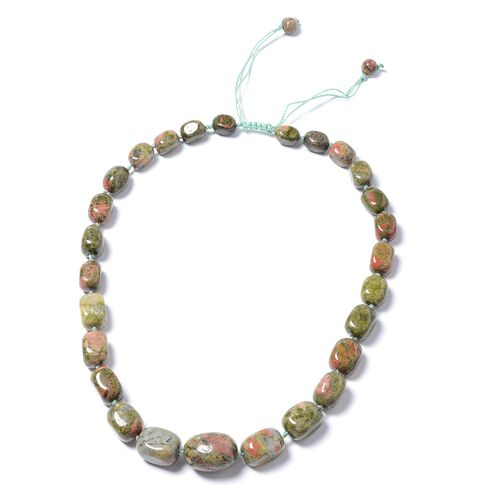 One Time Mega Deal- Rare Size Unakite Adjustable Beads Necklace (Size 18 - 32) 650.000 Ct.